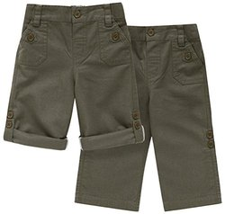 JoJo Maman Bebe Twill Turn Up Trousers (Toddler/Kid)-Olive-4-5 Years