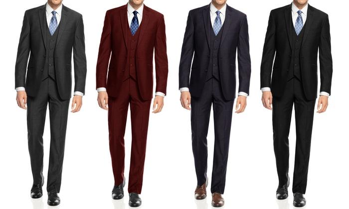 654419db999 Braveman Men s Slim-Fit Suit (3-Piece)  Charcoal 34SX28W …