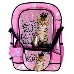 Rachael Hale Pink Cats Rule School Sized Backpack With Bonus Detachable Handbag