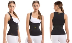 Women's Waist Trainer Belt with Thermal Camisole Vest - Black - Size: XL