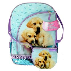 Rachael Hale Twins Puppy Dog School Sized Backpack With Bonus Detachable Handbag