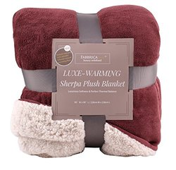 """Fabbrica Home Reversible Sherpa Large Blanket with Faux Sheep Fleece Lining and Warmth-Retention Volcanic Fiber in Red, Gray, Full/Queen, King (RED - Full/Queen, 90"""" x 90"""")"""