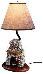 Hand Painted Ceramic Moose Design Electric Fireplace Lamp