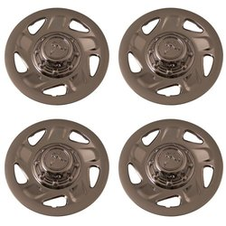Set of 4 Chrome 16 Inch Aftermarket Replacement Hubcaps with Metal Clip Retention System - Part Number: IWC134/16C