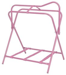 Tough-1 Folding Floor Saddle Rack w/Web Bottom Pink