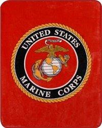 "Oversized 79"" x 96"" Marine Corps Blanket - Red"