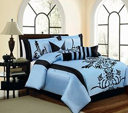 Grand Linen 7 Pc Luxury Comforter Set - Light Blue / Black - Size: Queen