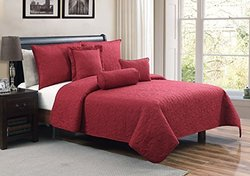 6 Pc Red Quilt Set, Queen Size bedspread/coverlet, By Karalai Bedding Collection