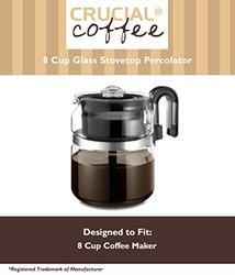 Crucial Coffee 8 Cup Glass Tea & Coffee Stovetop Percolator