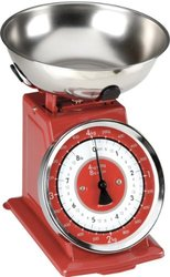 Typhoon Stainless Steel Retro Mechanical Kitchen Scale Red Red