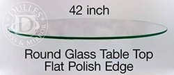"""42"""" Round Glass Table Top, 3/8"""" Thick, Flat Polish Edge, Tempered Glass"""