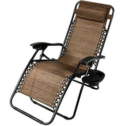 Sunnydaze Dark Brown Zero Gravity Lounge Chair with Pillow and Cup Holder