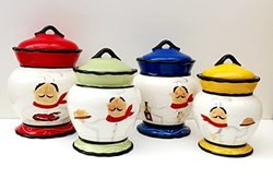 Tuscany Colorful Plump Bistro Chef Hand Painted Canisters - Set of 4