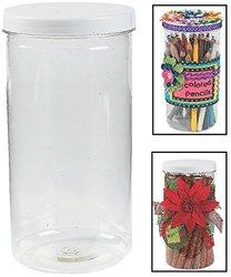 """Fun Express Plastic Tall Jars with Twist On/off Lid - 12 Pack - 8"""" X 4"""""""