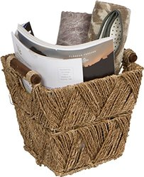 Trademark Innovations Seagrass & Wood Handled Basket - Size: 9.5""