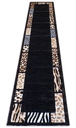 Skinz Animal Print Runner Area Rug - Black - Size: 32 Inch x 10 Feet
