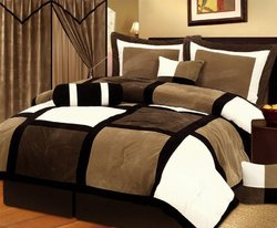 7 Piece Brown Black Beige Bed in a Bag Micro Suede FULL Comforter Set with accent pillows