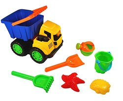Sand Dump Truck Bucket Set - Truck and 6 Accessory Pieces (Colors May Vary)