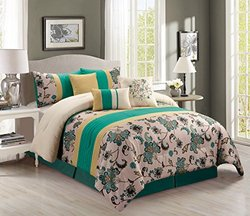 Retro 7 Piece Bedding Foam Green / Teal Blue / Yellow / Beige Embroidered King Comforter Set with accent pillows