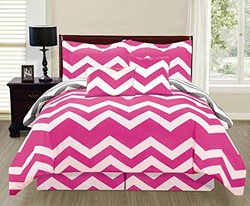 6 Piece Reversible Chevron Design Comforter Set Bed in Bag (King, Pink/ Grey with White)