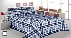 3 Pcs Printed Bedspread/ Coverlet Sets/ Quilt Sets, King Size,striped Blue Navy Blue Color Over Size