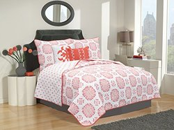 Filigree Collection 5-Piece Quilt Set with Shams & Decorative Pillows. Super Soft Microfiber Material Featuring a Unique & Beautiful Printed Design. By Home Fashion Designs. (Twin, Coral)