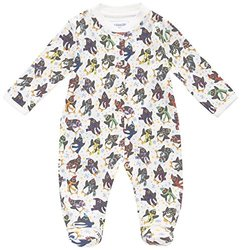 JoJo Maman Bebe Unisex-Baby Newborn Penguin Sleepsuit, White, 3-6 Months