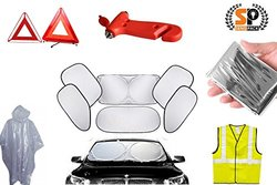 7-1 Car Safety & Care Essential Kit BLOWOUT SALE!- with Windshield Cover, Safety Hammer, Roadside Emergency signs, a safety vest & More!