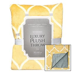 Davon Super Plush Luxury Ultra Soft Fleece Throw Blanket Reversible 50x60