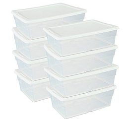 (Set of 8) 6-Quart Stackable Storage Containers - Perfect Shoe Storage System