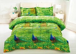 BEDnLINENS Box Stitched Peacock Prints 3D Comforter - Green - Size: Queen