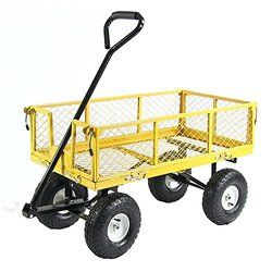 "Sunnydaze Heavy-Duty Steel Log Cart - Yellow - Size: 34"" x 18"""