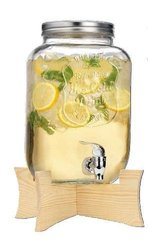 Quality Ice Cold Durable Glass 2.15-gallon Mason Jar Beverage Drink Dispenser with Spigot and Collapsable Wood Stand