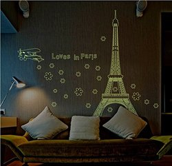"Amaonm Glow Dark Wall Decal Sticker ""Loves in Paris"" Eiffel Tower"