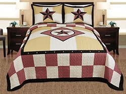 3-piece Western Lone Star Checker Cabin / Lodge Quilt Bedspread Coverlet Set King / Cal King Size