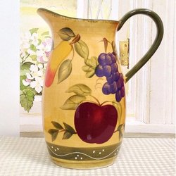 A.C.K. Trading Co. Tuscany Mixed Fruit Ceramic Water Pitcher