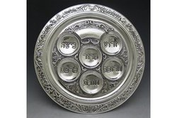 Ner Mitzvah Silver Plated Seder Plate - Silver