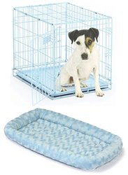 "Midwest iCrate Single Door 24""x18""x19"" w/ Matching Pet Bed (Blue)"