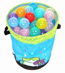 """Non-Toxic 200 """"Phthalates Free"""" Non-Recycled Quality Crush Proof 10 Colors Invisiball w/ 1 FREE Wonder Hamper: Mr. Organize Frog"""