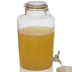 Brilliant - Mason Jar Round Glass Beverage Dispenser, 2 Gallons