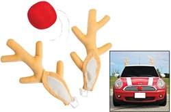 "Fun Express Plush Red-Nosed Reindeer Car Kit - Antlers, 8"" X 17""; Nose, 6"". Vehicle Costume"