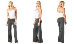 Popana Women's Solid Palazzo Pants - Slate - Size: Medium