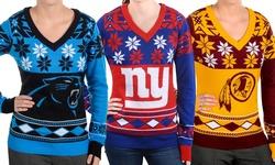 Women's Big Logo V-neck Sweater: Large/blue-carolina Panthers