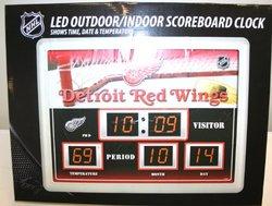Detroit Redwings 14 in. x 19 in. Scoreboard Clock with Temperature