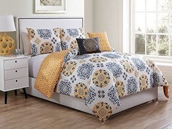 5 Pc, Reversible, Medallion, Grey and Yellow, Comforter Set, King Size Beding, By Karalai Bedding Collection (King)