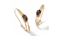 14K Gold-Plated 4.90 TCW Smoky Quartz Hoop Earrings