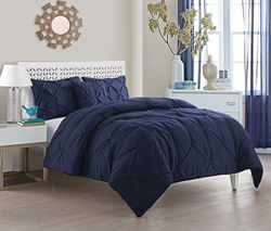 Victoria Classics 4-Piece Pintucked Comforter Set - Blue - Size: King