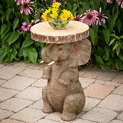 Bits and Pieces - Indoor-Outdoor Elephant Patio Table - Durable Weather-Resistant Polyresin Garden or Lawn Sculpture Decorative Accent