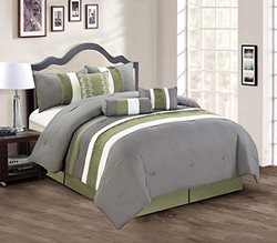 Modern 7 Piece Bedding Sage Green / Grey / White Pin Tuck / Ruffle King Comforter Set with accent pillows