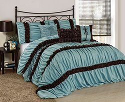 BednLinens 7Pc Caralina Chic Ruched Pleated Comforter Set -Blue -Sz: Queen